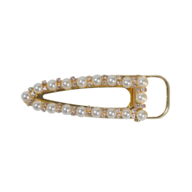 triangle hairclip pearl/ strass gold