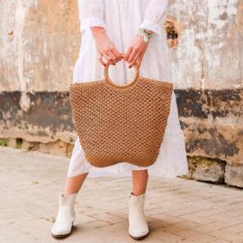 Gevlochten tas met rond handvat - bruin