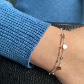 Jozemiek Stainless -steel hartjes  armbandje  -zilver