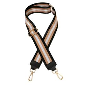 Jozemiek Schouderband zwart met rose streep