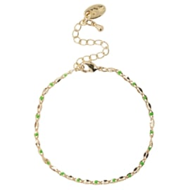 ONE DAY charity bracelet  green (14k plated geelgoud  of  witgoud)