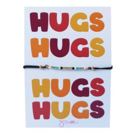 pull tie armbandje met gratis HUGS  ... quote kaartje