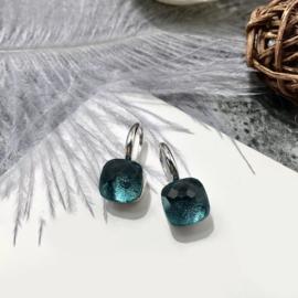 Jozemiek Stone earring Petrol - Zilver
