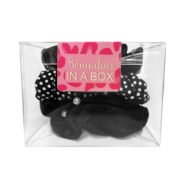 Scrunchie set zwart in geschenk verpakking