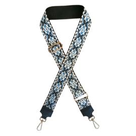 Jozemiek schouderband blauw/wit geblokt