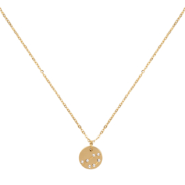 Libra/ Weegschaal necklace ,stainless-steel plated with 18k gold met giftcard en envelop