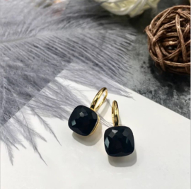 Jozemiek Stone earring Zwart - goud of zilver