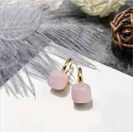 Jozemiek Stone earring Zacht Roze - goud of zilver