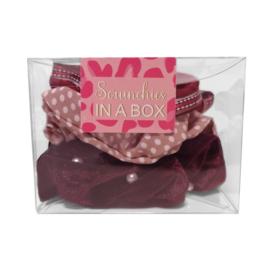 Scrunchie set bordeaux in geschenk verpakking