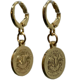 Vintage gold earring dollar coin