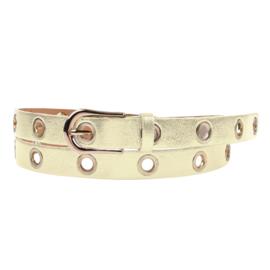 Jozemiek leren riem Maud met metalen ringen - goud metallic