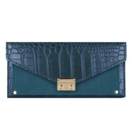 Croco portemonnee groot- Blauw