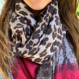 Sjaal leopard  burgundy