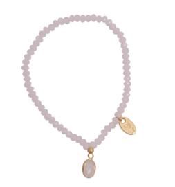 Jozemiek Embrace Minimalistic Cristal Stone Oval Pink