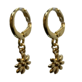 Vintage gold earring flower