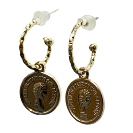 Vintage  gold earring coin