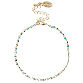 ONE DAY charity bracelet  aqua (14k plated geelgoud  of  witgoud)