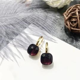 Jozemiek Stone earring Bordeaux - goud of zilver