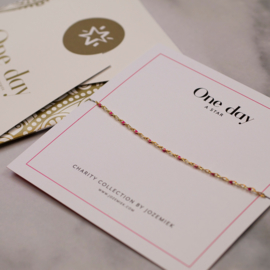 ONE DAY charity bracelet  fuchsia (14k plated geelgoud  of  witgoud)