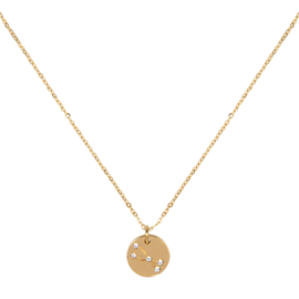 Taurus/stier necklace ,stainless-steel plated with 18k gold met giftcard en envelop