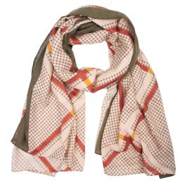 Sjaal ruit beige-groen-rood