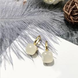 Jozemiek Stone earring Wit - goud of zilver