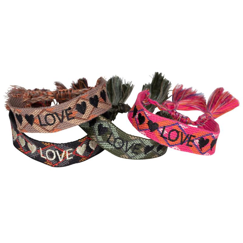 Bohemian quote armbandjes set :  LOVE 4pcs