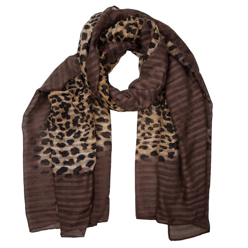 Sjaal leopard brown