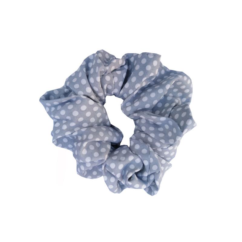 Scrunchie stippen grijs/blauw