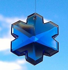 Feng Shui Regenboogkristal Sneeuwvlok 3 cm Blauw