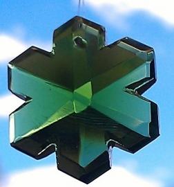 Feng Shui Regenboogkristal Sneeuwvlok 3 cm Groen