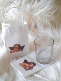 2 x Engel-tasjes met glas en kaarsje