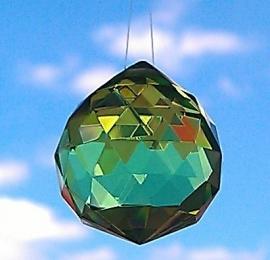Feng Shui Regenboogkristal bol 3 cm Groen