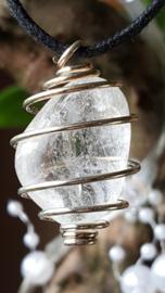 Spiraal hanger met Bergkristal 2 cm