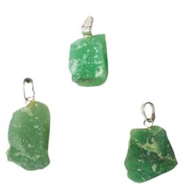 Groene Kwarts ruwe hanger +- 3,5 cm