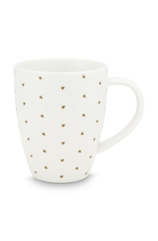 XL Mug with Ear White Golden Hearts 400ml
