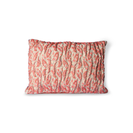 floral jacquard weave cushion red/pink (40x30) HK Living