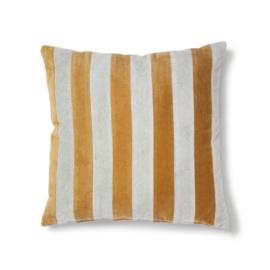 Striped cushion velvet grey/gold (50x50) TKU2080