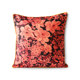 printed floral cushion coral/black (50x50) HK Living
