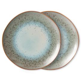 70s ceramics: dinner plates, mineral (set of 2)