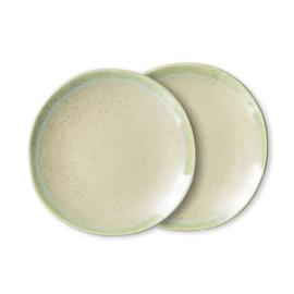 70s ceramics: side plates, pistachio (set of 2)