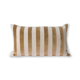 striped velvet cushion brown/natural (30x50) HK Living
