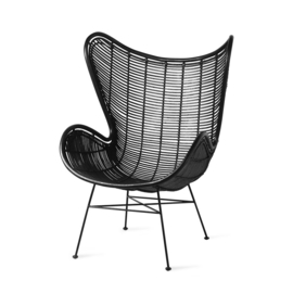 rotan egg chair zwart