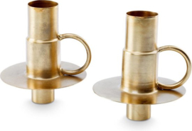 Set/2 Bottle Candle Holders Metal Gold 7x8.5cm