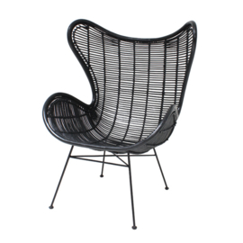 Rotan egg chair zwart HK Living