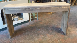 Bedtafel op wielen van steigerhout