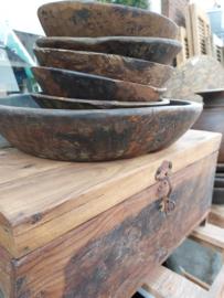 Oud houten schalen, 25 cm , assorti, small