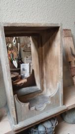 Houten open kastje met spiegel ( oldlook )