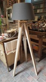 Statief lampvoet van steigerhout met kap antraciet (NIEUW!)