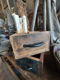Organizer / Bottleholder  > 4 vaks > oud hout